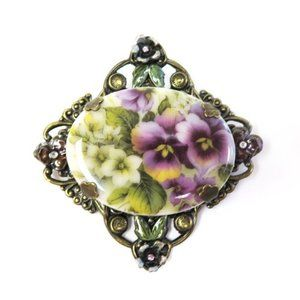 Vintage Sweet Romance Purple Pansy Flower Brooch